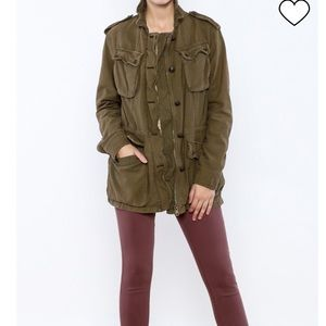 Free People Army Green Rugged Army Military Jacket